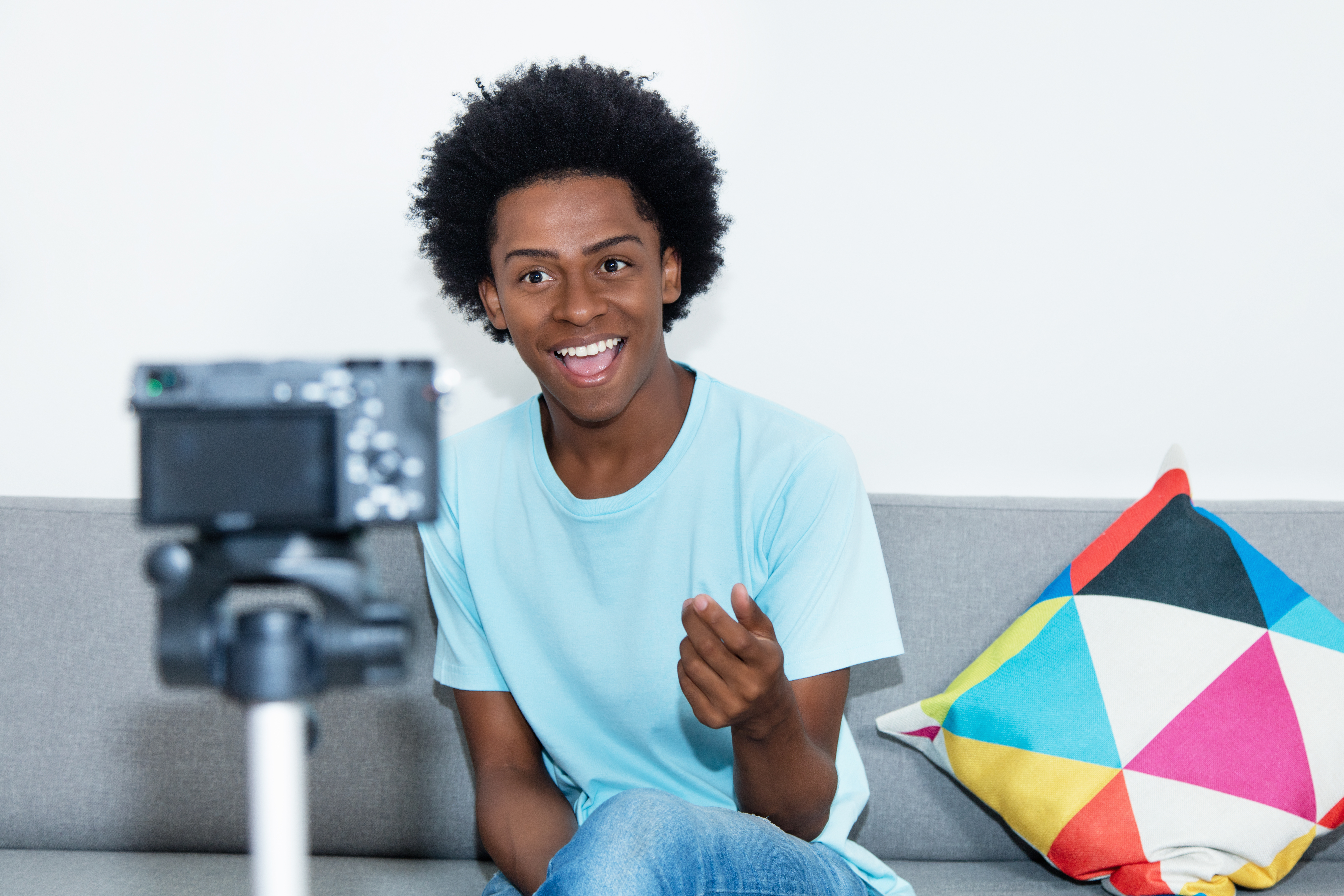 Actor recording audition at home